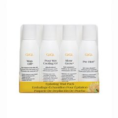 Packaged GiGi Epilating Lotion Trial Pack including 1 bottle each of Wax Off, Post  Wax Cooling Gel, Slow Grow, & Pre Hon