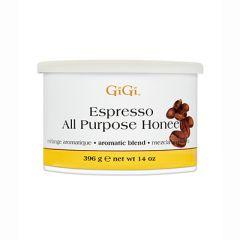 Front of GiGi Espresso All Purpose Honee 14 oz can of Soft Wax