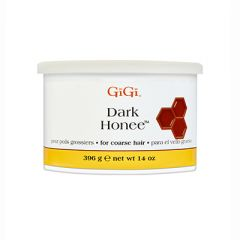 Front of GiGi Dark Honee 14 oz soft wax can for coarse hair.