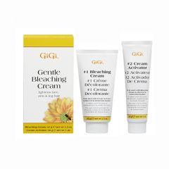 GiGi Gentle Bleaching Cream Box next to #1 Bleaching Cream and  #2 Cream Activator