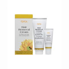 GiGi Hair Removal Cream For Hair & Legs 2oz with Calming Balm 0.5 oz Lotions and box.