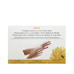 The front side of GiGi Paraffin Protectors (Plastic) 26 count retail box with an illustration of 2 hands using the protector