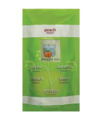 Closeup of a sealed pillow bag packaging of Peach and Fennel paraffin wax