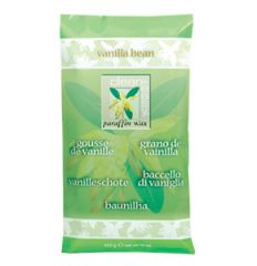 Vertical Sealed pack of a vanilla bean paraffin wax isolated in white background