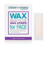 Frontage illustration of hair remover pack with sample wax strips on the side