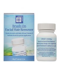 Front view of Brush-On Facial Hair Remover box and its capped bottle backside with detailed text