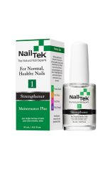 Nail Tek Maintenance 1 0.5 ounce bottle with clear liquid next to its retail box packaging featuring product description