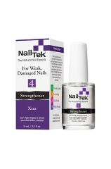 Front view of a 0.5 ounce Nail Tek Xtra 4 bottle with white brush cap next to its purple & white themed retail box