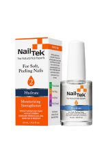A clear 0.5 ounce bottle of Nail Tek Moisturizing Strengthener with white brush cap side by side with its retail box