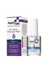 Labeled 0.5 ounce bottle of Nail Tek Moisturizing Strengthener  standing next to its retail box packaging