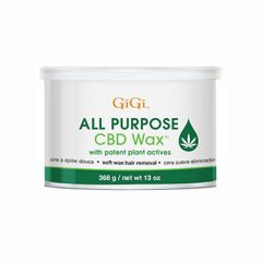 Front view of a 13 oz GiGi  All Purpose CBD Wax cannister with product information displayed