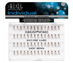 Front view of  an Ardell Knot-Free Individuals - Short (Brown) faux lashes set in retail wall hook packaging