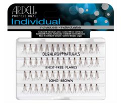 Front view of an Ardell Knot-Free Individuals Lashes - Long (Brown) faux lashes set in complete retail wall hook packaging