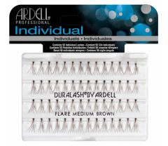Front view of an Ardell Knotted Individuals - Medium (Brown) faux lashes set in complete retail wall hook packaging