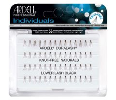 Front view of an Ardell Knot-Free Naturals Lower Lash Individuals - Short false lashes set in retail wall hook packaging