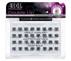 A set of 56 Ardell Double Up knotted Flare Trio Individuals in Short length inside its retail packaging.