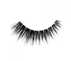 Ardell's 3D Faux Mink strip lashes to show natural style, shorter at the inner corner & more extended at the outer corner