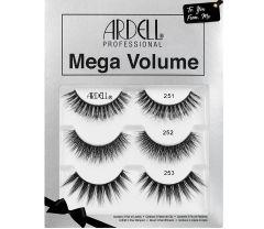 Pair of Ardell Mega Volume 251 upper false lashes showing its maximum volume long length & rounded lash style