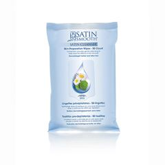 Front view of Satin Smooth Satin cleanser wet wipes in a vertical pillow  bag mock up