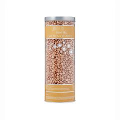 Front view of the 23-ounce transparent cylinder canister of Satin Smooth Pebble Wax in Golden Quartz variant