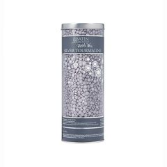 A closeup of a 23-ounce clear cylinder canister of Satin Smooth Pebble Wax in Silver Tourmaline variant