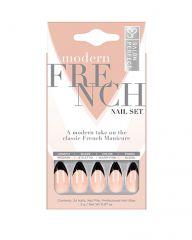 Salon Perfect Modern French Short Black Nail Set