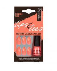 Salon Perfect Tips & Toes Kit Flamingo Flair Matching Lacquer & Nail Set