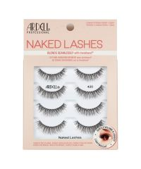 Front view of an Ardell Naked Lash 420 faux lashes set in complete multipack retail wall hook packaging