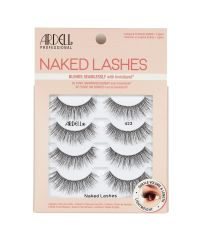 Front view of an Ardell Naked Lash 423 faux lashes set in complete multipack retail wall hook packaging