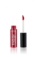 An open Ardell Mattellc Lip Creme in All the Way Dark Berry shade beside its doe foot applicator wand
