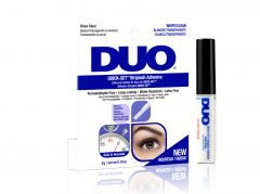 Front view of  Ardell DUO Quick-Set Strip Lash Adhesive - Clear retail packaging side by side with DUO lash adhesive bottle
