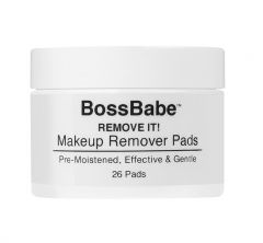 Front view of a capped Ardell Boss Remove It Pre-Moistened Eye Makeup Pads container