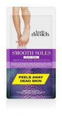 Front view of white & purple Body Drench Smooth Soles Foot Peel retail packaging with product information