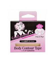 Wide front view of the wall-hook ready retail packaging of body contour tape