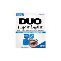 Front view of a wall hook pack of DUO Line It Lash It  2 In 1 Eyeliner & Lash Adhesive with printed label text and image
