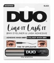 Front view of  Ardell DUO Line It Lash It 2-in-1 Eyeliner and Lash Adhesive in complete retail wall hook packaging