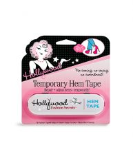 Sealed wall-hook ready pack of Hollywood Temporary Hem Tape with printed label text