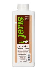 Front view of a 9 ounce bottle of Jeris Powder White featuring a brown & blue themed label with product information