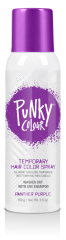 Front view of 3.5-ounce spray container of B Wild Temporary Color Hair Spray Panther Purple with purple cover cap