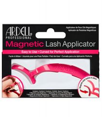 Front view of  pink Ardell Magnetic Lash Applicator inside black with pink accents retail wall hook packaging.