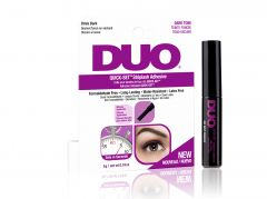 Front view of  Ardell DUO Quick-Set Striplash Adhesive- Dark retail packaging side by side with DUO lash adhesive bottle