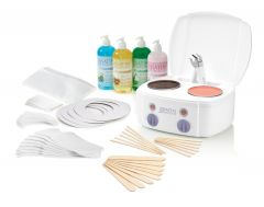 Satin Smooth Professional Double Warmer Wax Kit featuring wax warmer, after wax products, strips, collars, & applicators